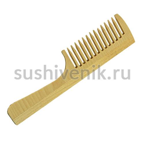 Расческа деревянная с ручкой (большие зубья)
