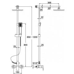 Душевая система KAISER LE-1110 без наполнения схема