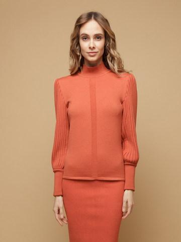 Женский джемпер терракотового цвета из 100% шерсти - фото 1