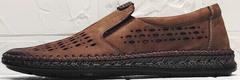 Кожаные туфли мокасины летние мужские смарт кэжуал Luciano Bellini 91737-S-307 Coffee.