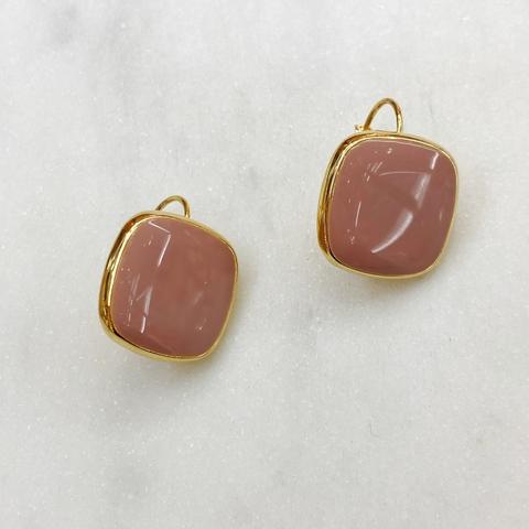 Серьги Квадраты на петлях, эмаль (розовый)