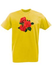 Футболка с принтом Цветы (Розы) желтая 002