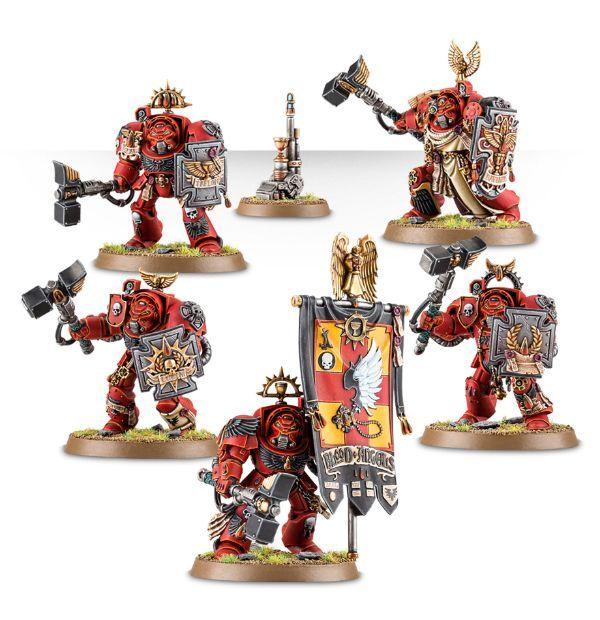 Blood Angels Terminator Assault Squad. Миниатюры со штандартом и телепортационным маячком