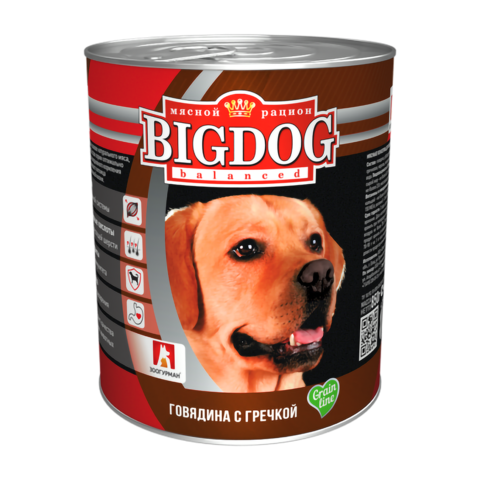 Зоогурман Big dog Консервы для собак с говядиной и гречкой (Банка)