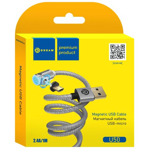 Кабель USB - microUSB U50 2.4A 1M (магнитный) серебро DREAM