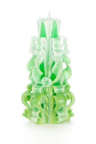 Свеча-резная ручной работы LACE FRESH-L (кружева свежести), h 16 см TM Aromatte