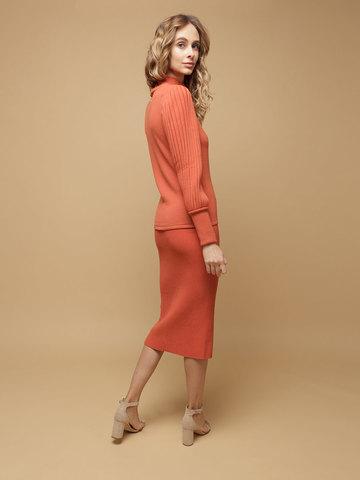 Женский джемпер терракотового цвета из 100% шерсти - фото 5