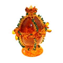 Сувенирное Пасхальное яйцо (натуральный янтарь, бисер), малое, АВ-0763
