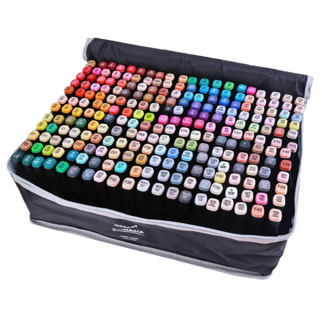 Mazari Fantasia набор маркеров для скетчинга 240 шт в сумке пенале - двусторонние спиртовые пуля/долото 3.0-6.2 мм (вкл. 2 блендера)