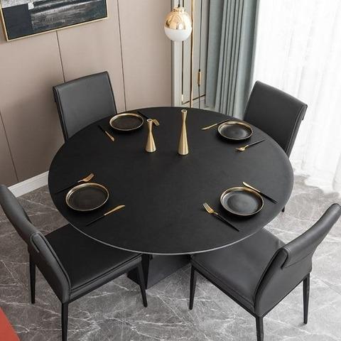 Скатерть-накладка на круглый стол диаметр 114см двухсторонняя из экокожи черная-красная