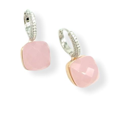33371 - Серьги из серебра Caramel с розовым кварцем и позолотой