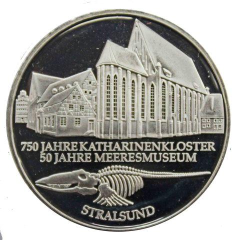 10 марок. 50 лет музею в Штральзунде (F). Серебро. 2001 г. PROOF