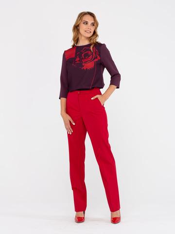 Фото красные прямые свободные брюки со средней посадкой и боковыми карманами - Брюки А435а-503 (1)