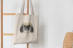 Сумка-шоппер с принтом Собака, Пекинес (Dog) бежевая 002