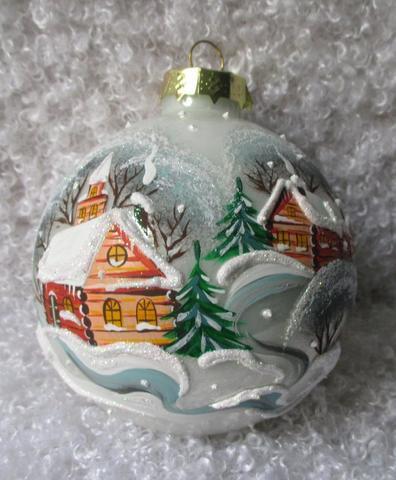Шар из стекла с ручной росписью, в подарочной упаковке.