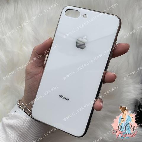 Чехол iPhone 7/8 Plus Glass Case Logo /white/