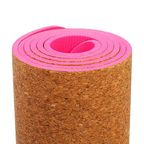 Коврик для йоги Пробка Pink 183*61*0,6 см
