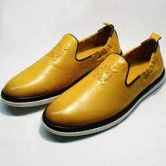Мужские туфли слиперы смарт кэжуал King West 053-1022 Yellow-White.