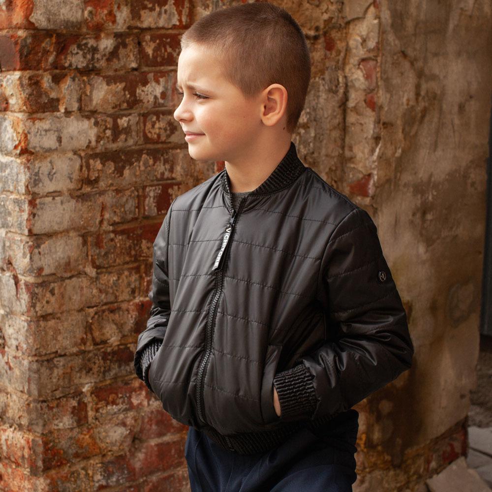 Детский бомбер черный из водоотталкивающей плащевки