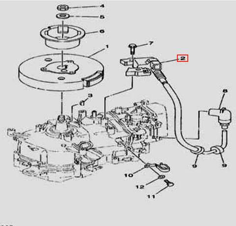 Катушка зажигания с вв проводом для лодочного мотора F5 Sea-PRO(11-2)