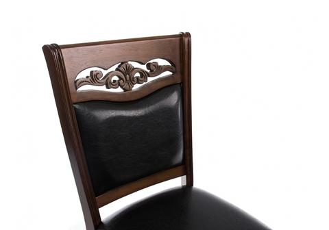 Стул деревянный кухонный, обеденный, для гостиной Drage cappuccino 48*48*96 Cappuccino /Черный кожзам