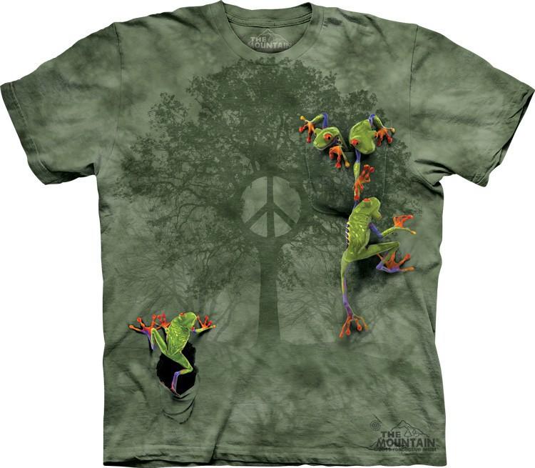 Футболка Mountain с изображением трех лягушек - Peace Tree Frog