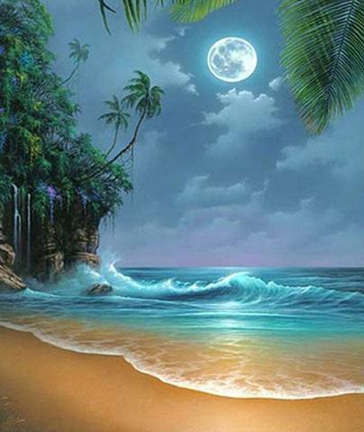 Алмазная Мозаика 30x40 Ночь на пляже