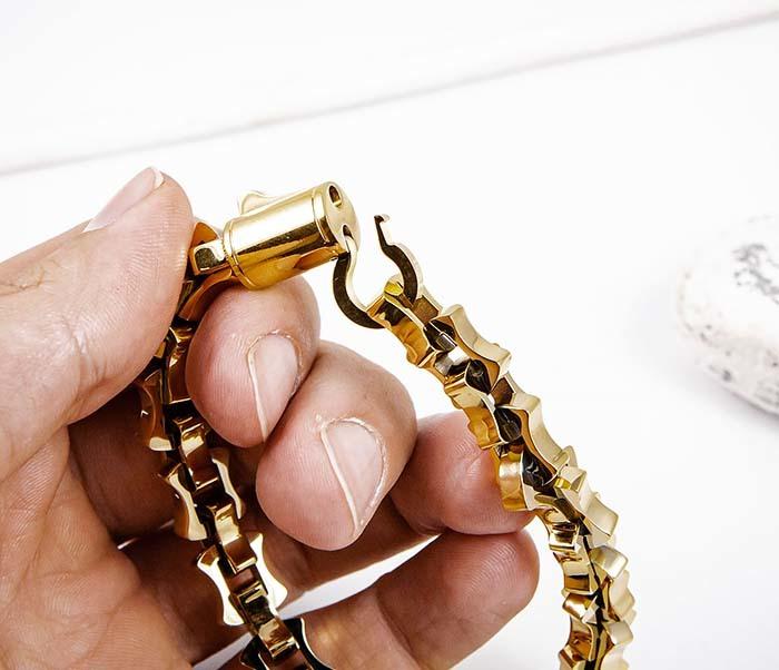 BM597-2 Мужской браслет цепь из стали золотистого цвета фото 04