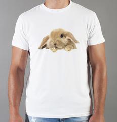 Футболка с принтом Заяц (Кролик) белая 008