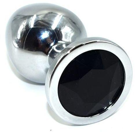 Серебристая анальная пробка из нержавеющей стали с черным кристаллом - 8,5 см.