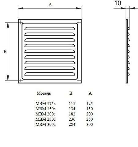 Решетка МВМ 125с оцинкованная