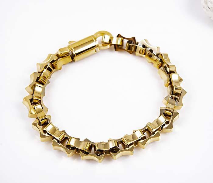 BM597-2 Мужской браслет цепь из стали золотистого цвета фото 05