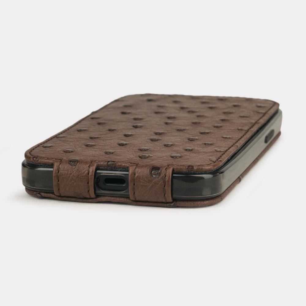 Чехол для iPhone 12/12Pro из натуральной кожи страуса, коричневого цвета