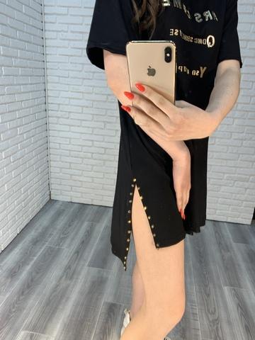 свободное черное платье недорого