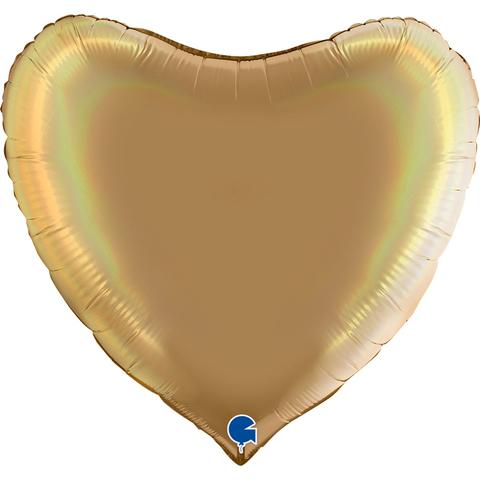 Воздушный шар сердце большое, шампанское, 91 см