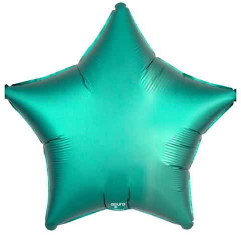 Шар звезда Бирюзовый сатин, 45 см
