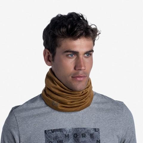 Тонкий шерстяной шарф-труба Buff Wool lightweight Solid Mustard фото 2