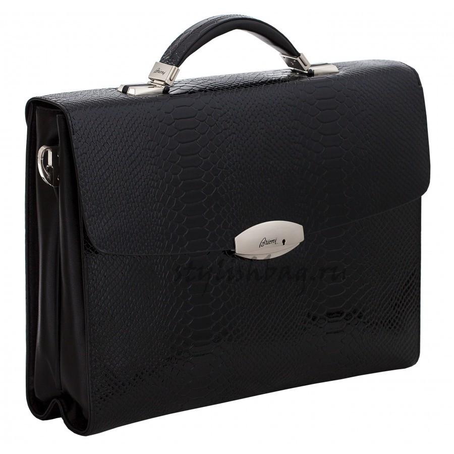 Мужской брендовый портфель из кожи Brioni