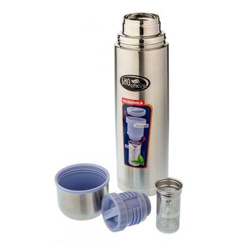 Термос Biostal (1 литр) пробка с ситечком, стальной