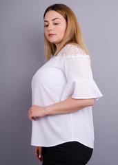 Камелия. Комбинированая блуза больших размеров. Белый.