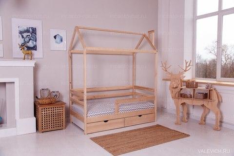 Кроватка-домик Incanto «Dream Home Karelian pine » с ящиками, цвет натуральный