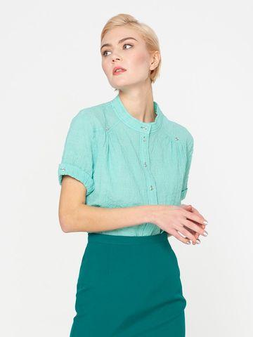 Фото бирюзовая блузка с короткими рукавами и круглым стоячим воротником - Блуза Г538-144 (1)
