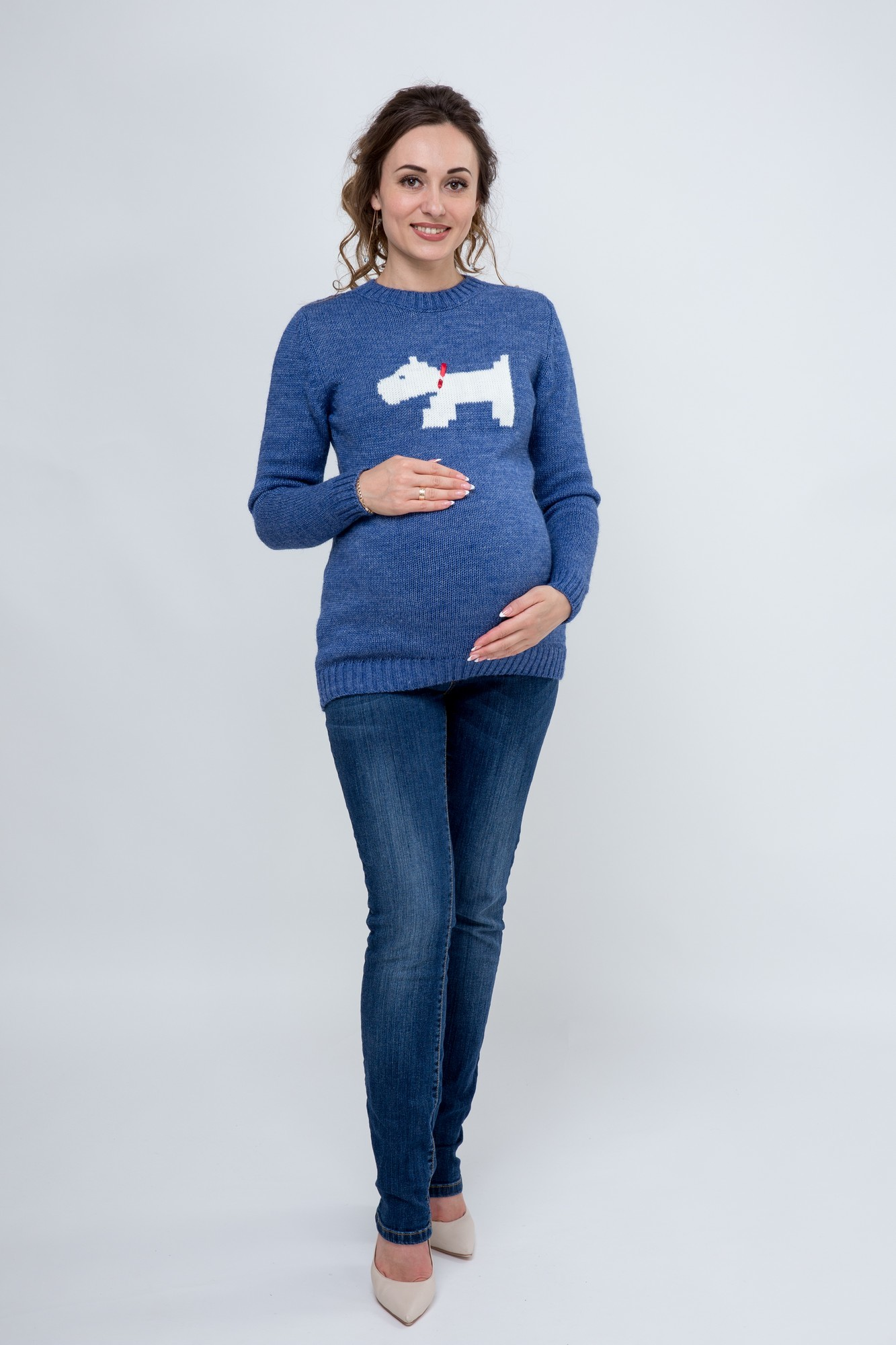 Свитер для беременных 07795 голубой