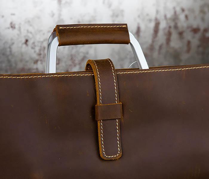 BAG440-2 Мужской портфель с ремнем на плечо из толстой кожи фото 02