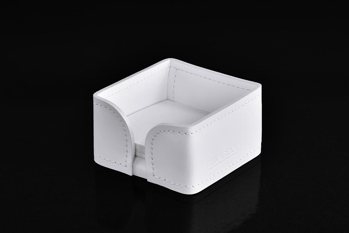подставка для заметок 9х9 из белой кожи