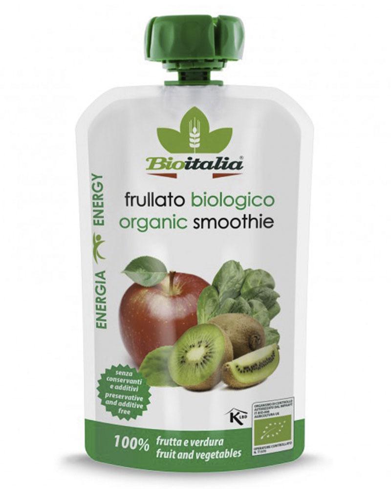 Пюре Bioitalia из яблока, киви и шпината-смузи 120 гр.