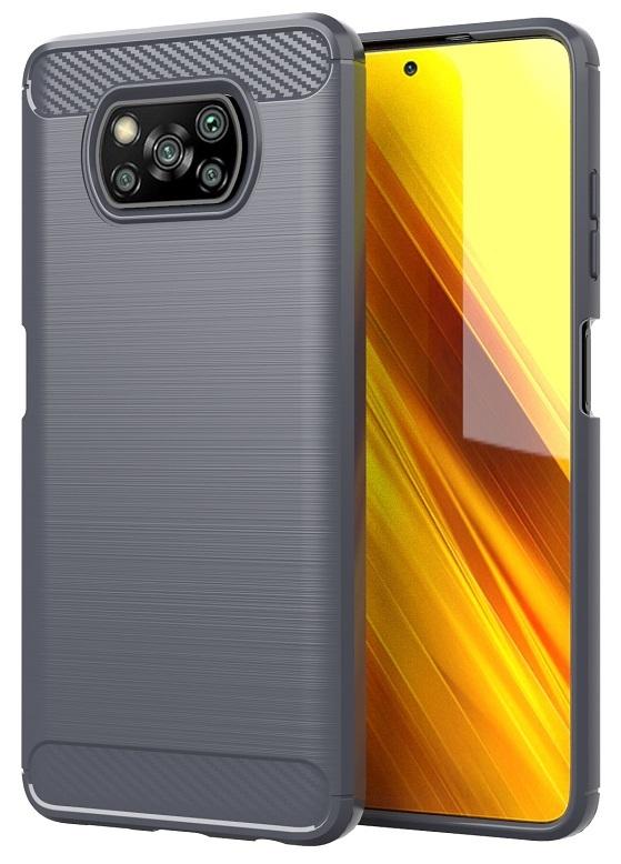 Чехол серого цвета на Xiaomi Poco X3 NFC, серия Carbon (стиль карбон) от Caseport