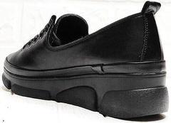 Кожаные кеды туфли женские на танкетке Mario Muzi 1350-20 Black.