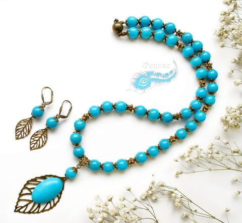 """Бусина металлическая """"Цветочек"""" 7х7 мм (цвет - античная бронза), 10 штук (Голубой набор из натуральных камней. Пример)"""