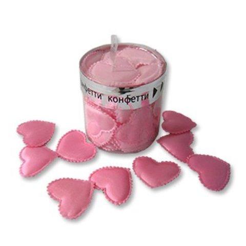 Конфетти Сердца3D ткань розов 3см 35шт
